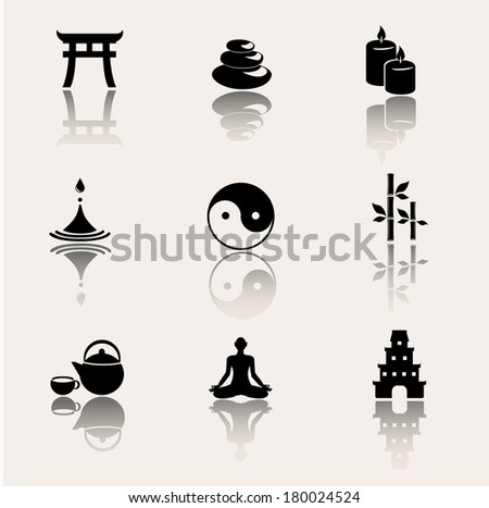 Buddhism, zen philosophy icon set. Vector illustration. - stock vector