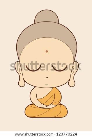 Buddhist Monk cartoon - stock vector