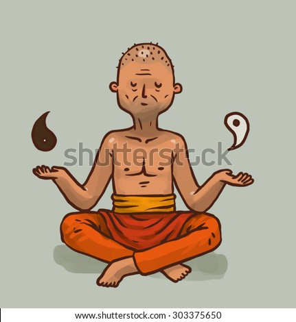 Buddhist Monk in meditation, vector - stock vector