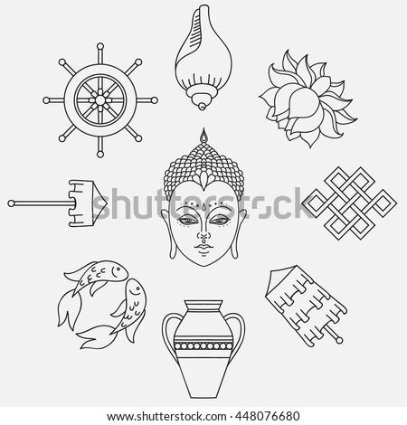 Buddhist Symbolism 8 Auspicious Symbols Buddhism Stock Vector