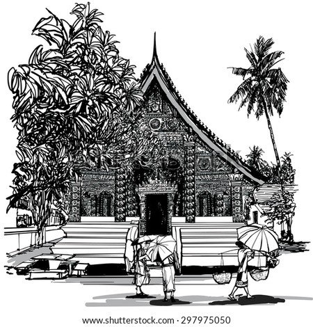 Buddhist temple in Asia with monks - Vector illustration