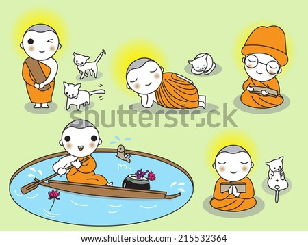 Buddhist Thai Monk Characters illustration set - stock vector