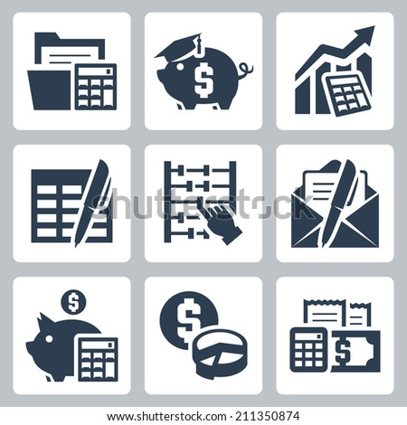 Budget, accounting vector icons set - stock vector