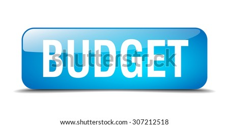 budget blue square 3d realistic isolated web button - stock vector