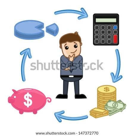 Budget, Saving, Calculate, Invest Circle - Business Cartoon Vectors - stock vector