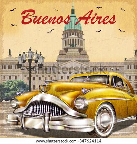 Buenos Aires retro poster. - stock vector