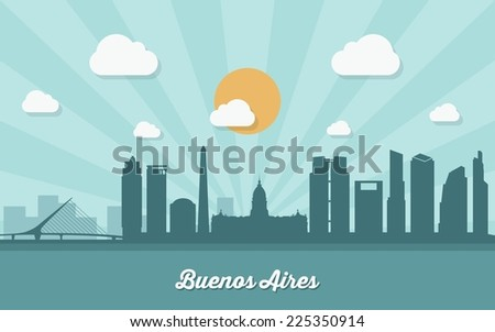 Buenos Aires skyline - flat design - vector illustration - stock vector