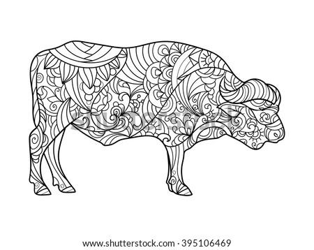 Buffalo Animal Coloring Book Adults Vector Stock Vector 395106469 ...