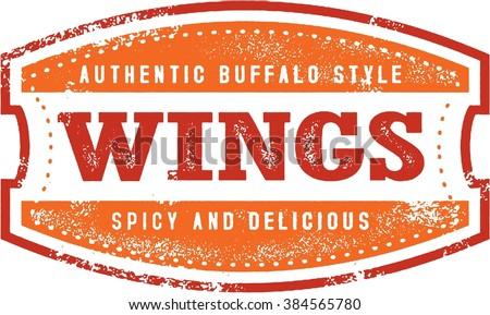 Buffalo Chicken Wings Menu Stamp - stock vector