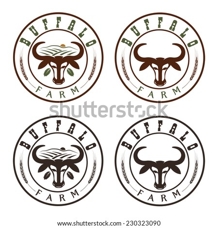 buffalo farm vintage labels set - stock vector