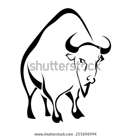 Buffalo isolated on white background. Vector illustration. - stock vector