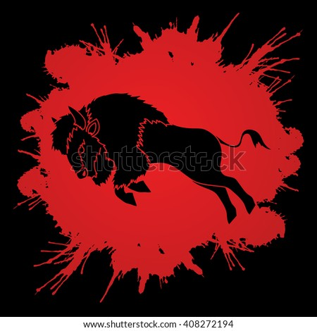 Buffalo Jumping designed on splash blood background graphic vector