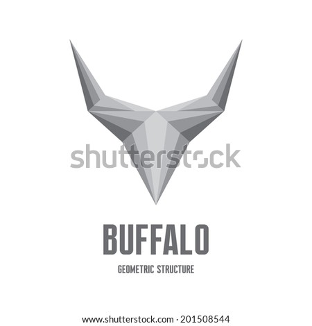 Buffalo Logo Sign - Abstract Geometric Structure for creative design project. Vector logo template.  - stock vector