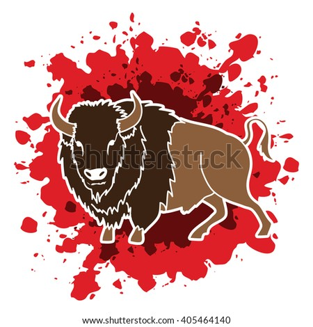 Buffalo standing designed on splash blood background graphic vector.
