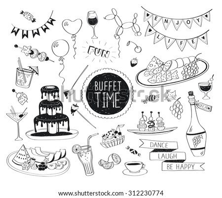 Buffet party doodle set. Hand drawn beverages icons isolated on white background. Doodle food and drinks. Chocolate fountain, fruit, bottle, tea, coffee, snacks. - stock vector