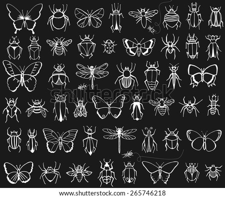 Bug, butterflies, bees, ants, dragonflies, and more. - stock vector