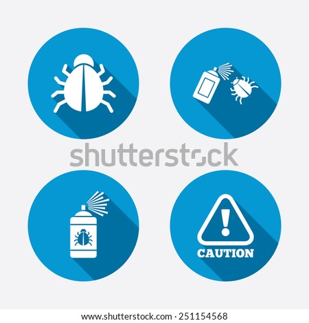 Bug disinfection icons. Caution attention symbol. Insect fumigation spray sign. Circle concept web buttons. Vector - stock vector