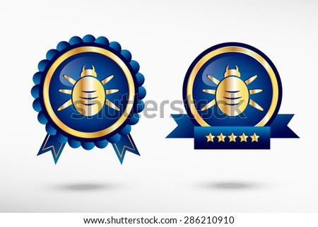 Bug icon stylish quality guarantee badges. Blue colorful promotional labels - stock vector
