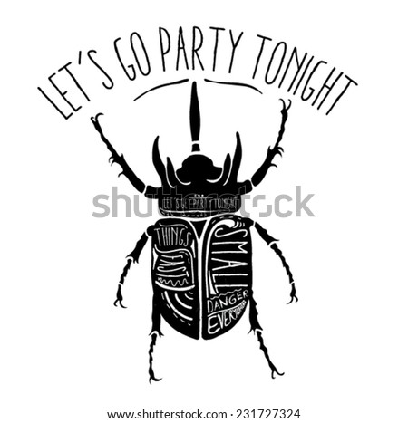 Bug in black color and in vector with ''let's go to party tonight''slogan. - stock vector