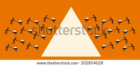 build a big project from small contributions, crowd sourcing concept - stock vector