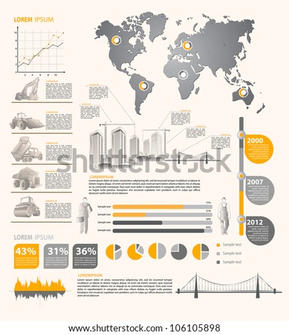 build info graphic vector with map of World - stock vector