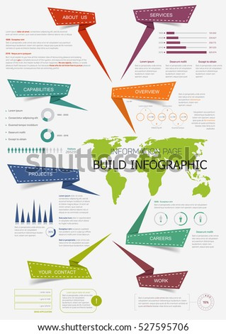 Build infographic world map presentation information stock vector build infographic with world map presentation information page with pie chart step diagram and gumiabroncs Images