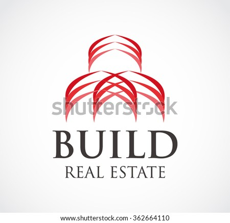Build real estate of ribbon abstract vector and logo design or template hotel property business icon of company identity symbol concept - stock vector
