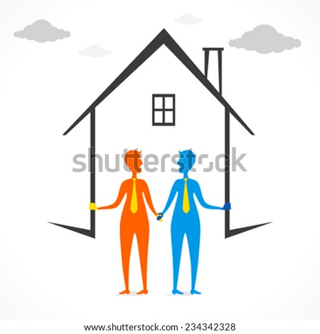 build your home or buy new home design concept vector - stock vector