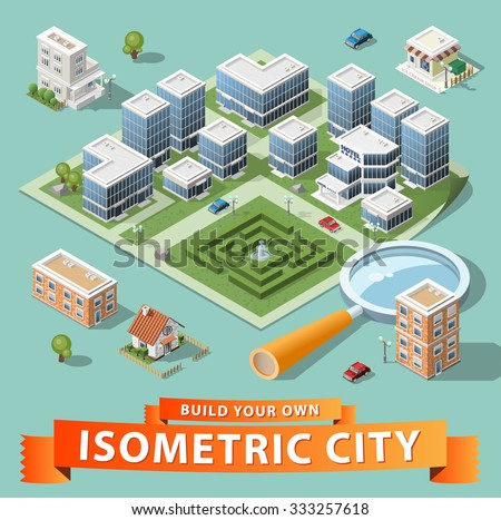 Build Your Own Isometric City. Vector Elements. - stock vector