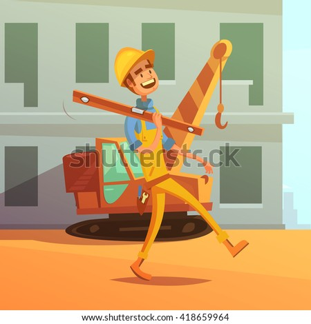 Builder and construction cartoon background with construction equipment and machines vector illustration  - stock vector