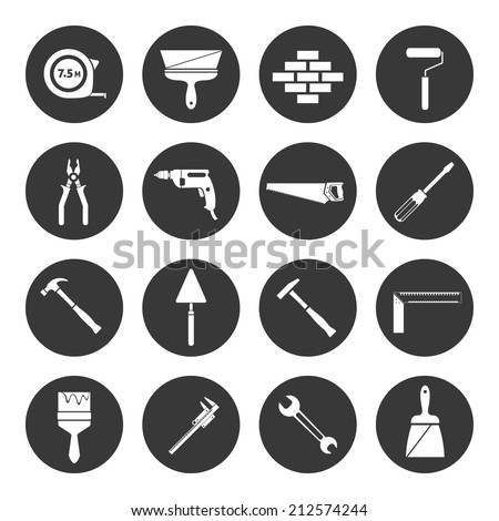 Builder and construction industry instrument assortment black icons set isolated vector illustration - stock vector
