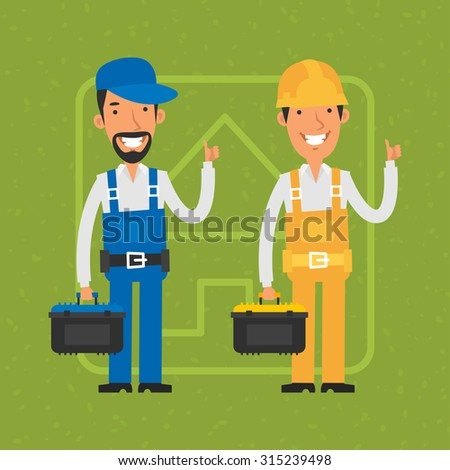 Builder and repairman show thumbs up - stock vector