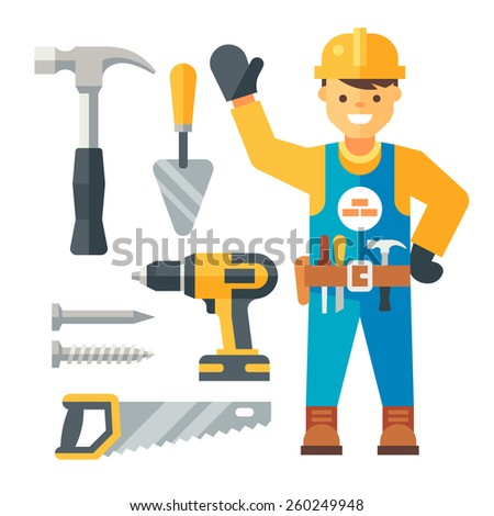 Builder and tools. Flat vector illustration. - stock vector