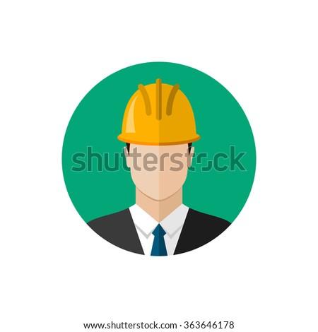 Builder architect in helmet. Flat design vector illustration - stock vector