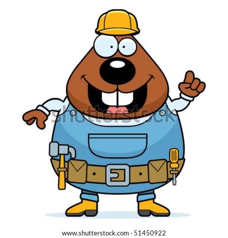 Builder Beaver - stock vector