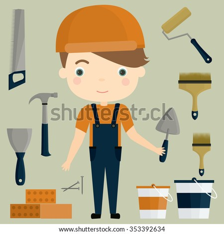 Builder. Building materials and tools. Cute vector set. - stock vector