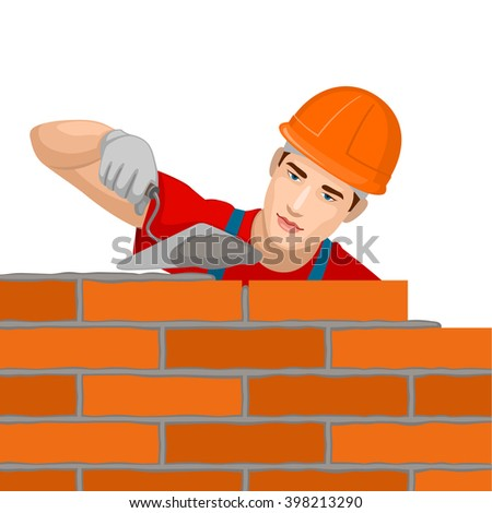 Builder builds a brick wall. - stock vector