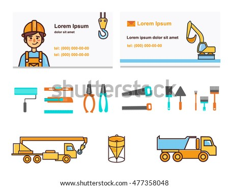 Builder Card and building icons with a truck crane, concrete mixers and excavator. Vector illustration.