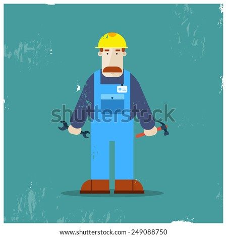 Builder character holding tools. Full length. Vector flat illustration. Vintage poster. - stock vector