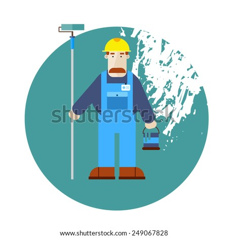 Builder character vector illustration. Building, repair and decoration works. Painter. Flat style. - stock vector