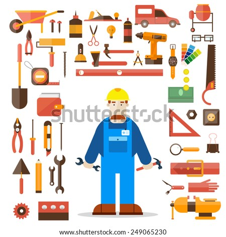 Builder character vector illustration. Building, repair and decoration works. Set of tools icons. Plumber, mechanic, carpenter. Flat style. - stock vector