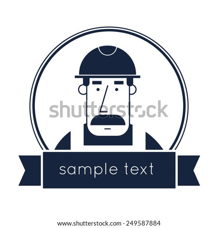 Builder character vector illustration. Flat design. Isolated label. Badge symbol. Creating logo design. - stock vector