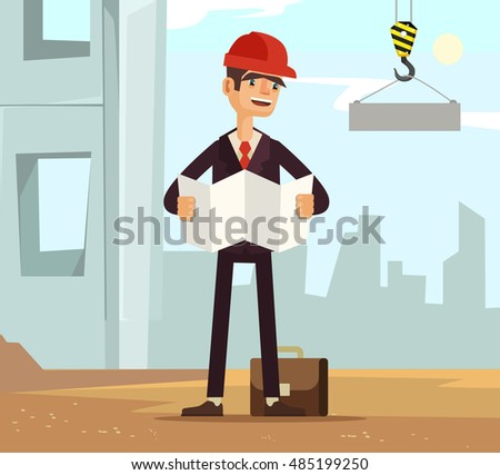 Builder foreman worker character on construction read plane. Vector flat cartoon illustration