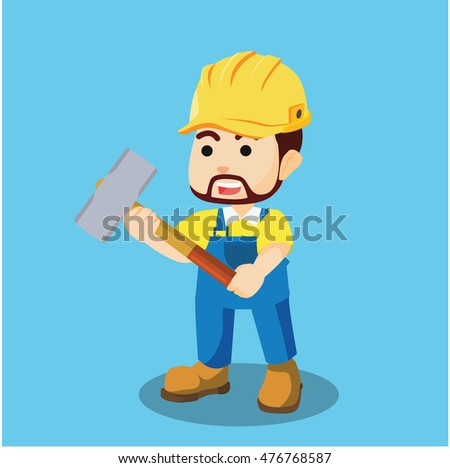 builder holding hammer illustration design