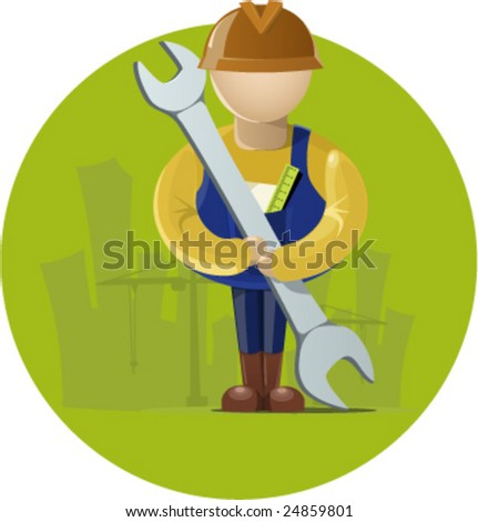 Builder in front of building and crane - stock vector
