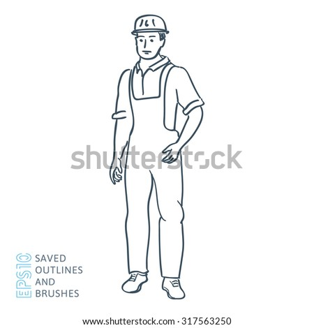 Builder in uniform and helmet - stock vector