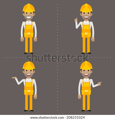 Builder indicates in various poses - stock vector