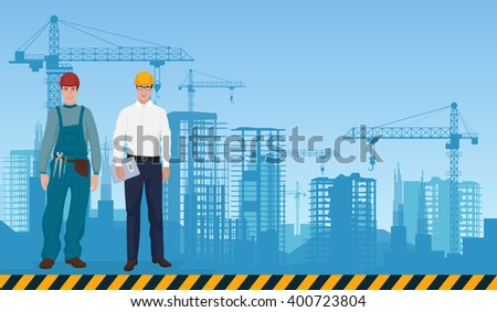 Builder man manager and worker on the constructions buildings background. Builder concept, Builder worker, Builder architect, Builder profession, Builder business. - stock vector