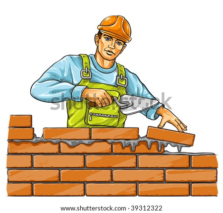 builder man with derby tool building a brick wall - vector illustration - stock vector