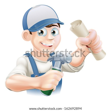 Builder or carpenter with certificate, qualification or other scroll and hammer. Education concept for being professionally qualified or certificated.